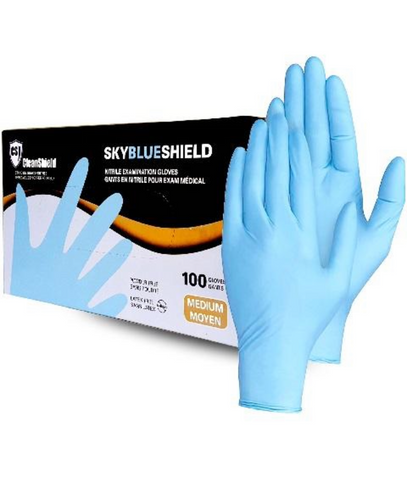 SkyBlue Shield Nitrile Exam Gloves 4mil - Canada Gloves Direct
