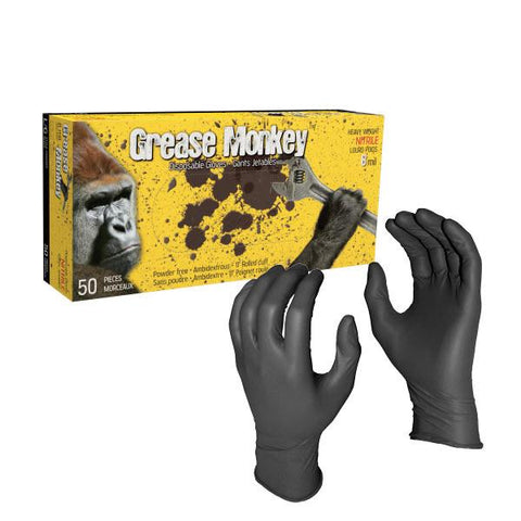 Grease Monkey 8 mil Black Heavy Duty - Food Safe Nitrile Gloves - Canada Gloves Direct