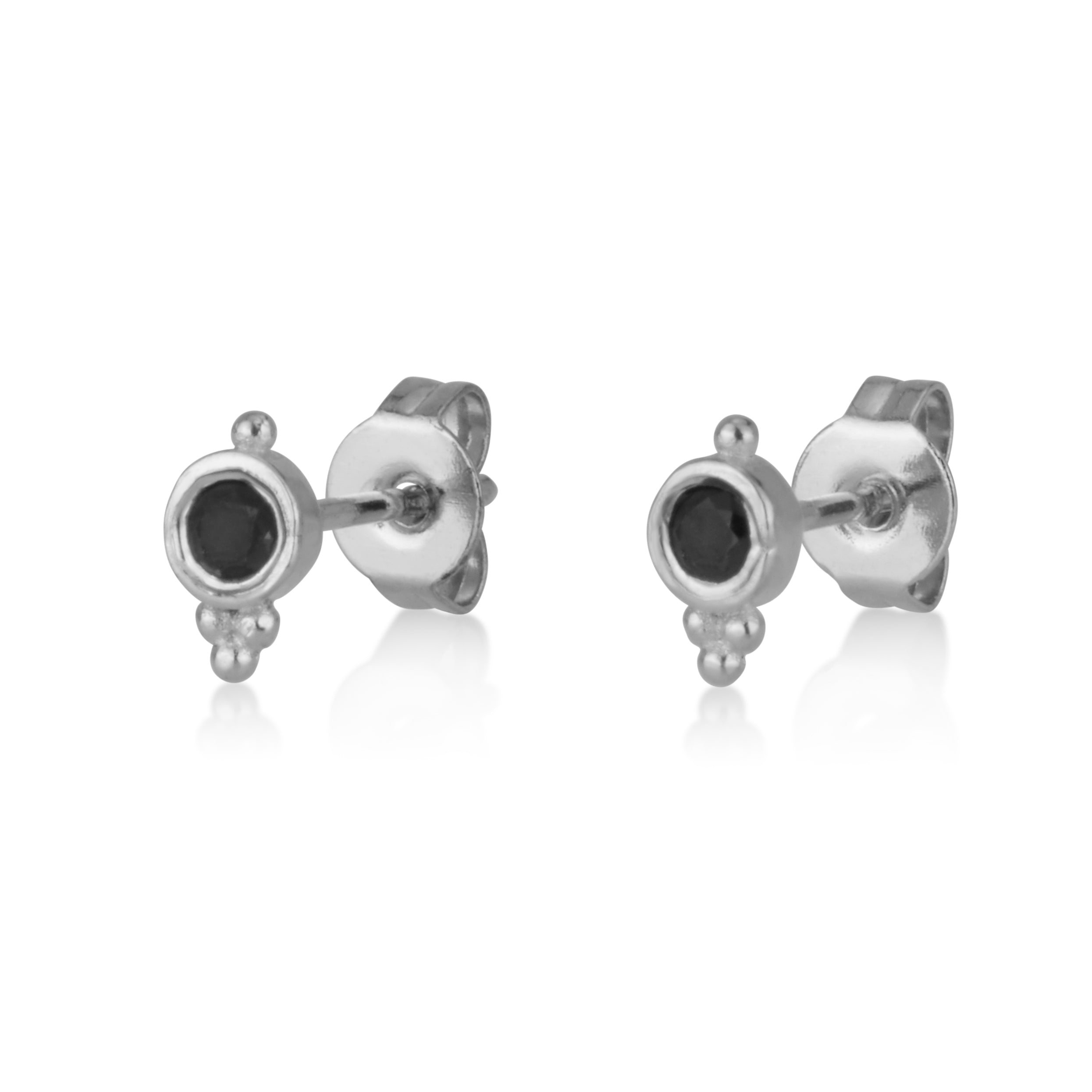 Black Zircon Stud Earrings