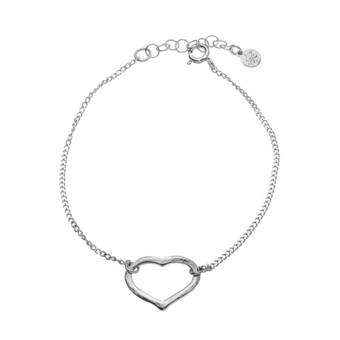 Silver thick chain with Hammered Heart