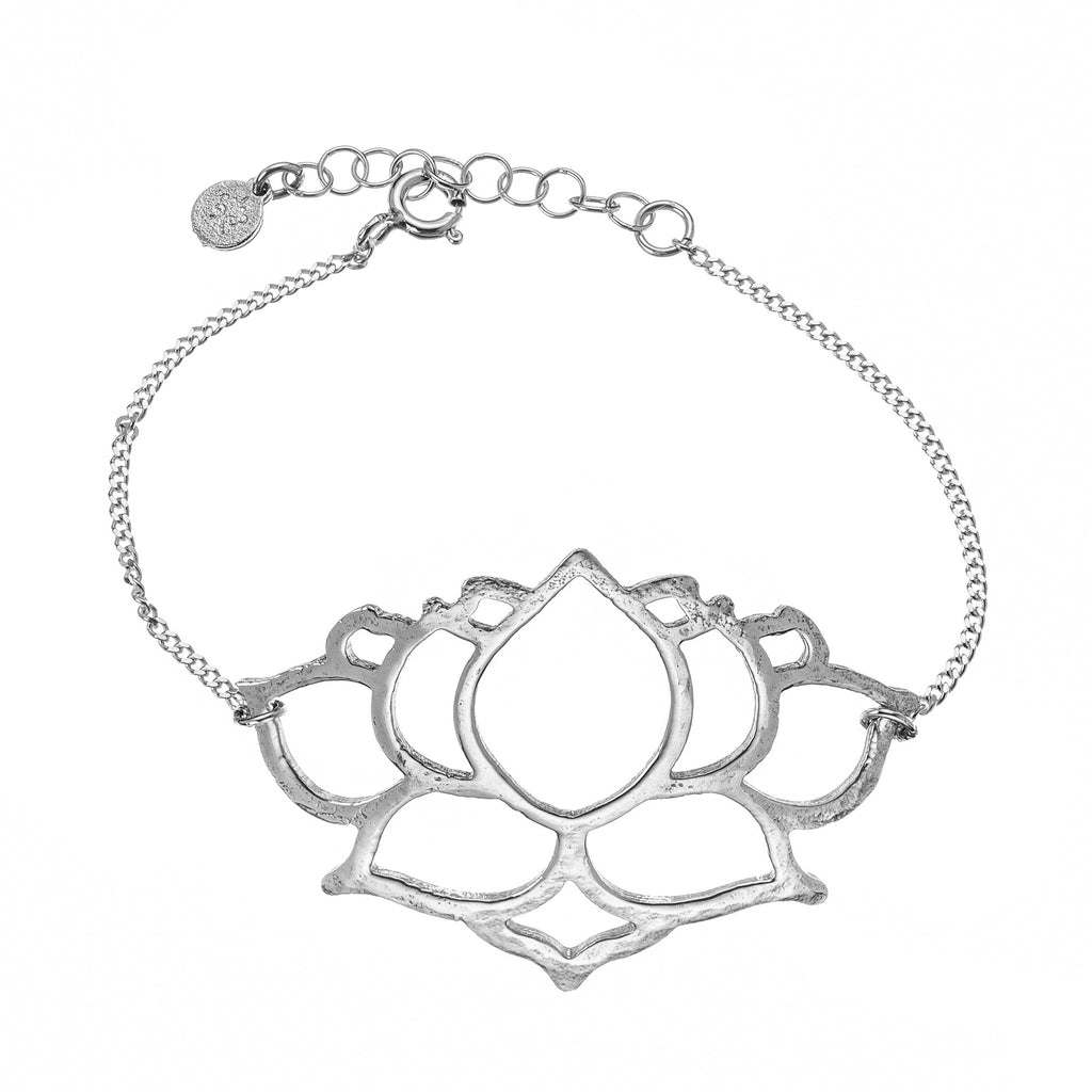 Silver Thick Chain With L Lotus Pendant