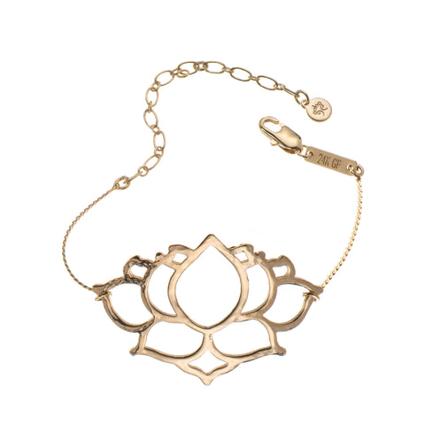 Liya chain Bracelet with L Lotus Pendant