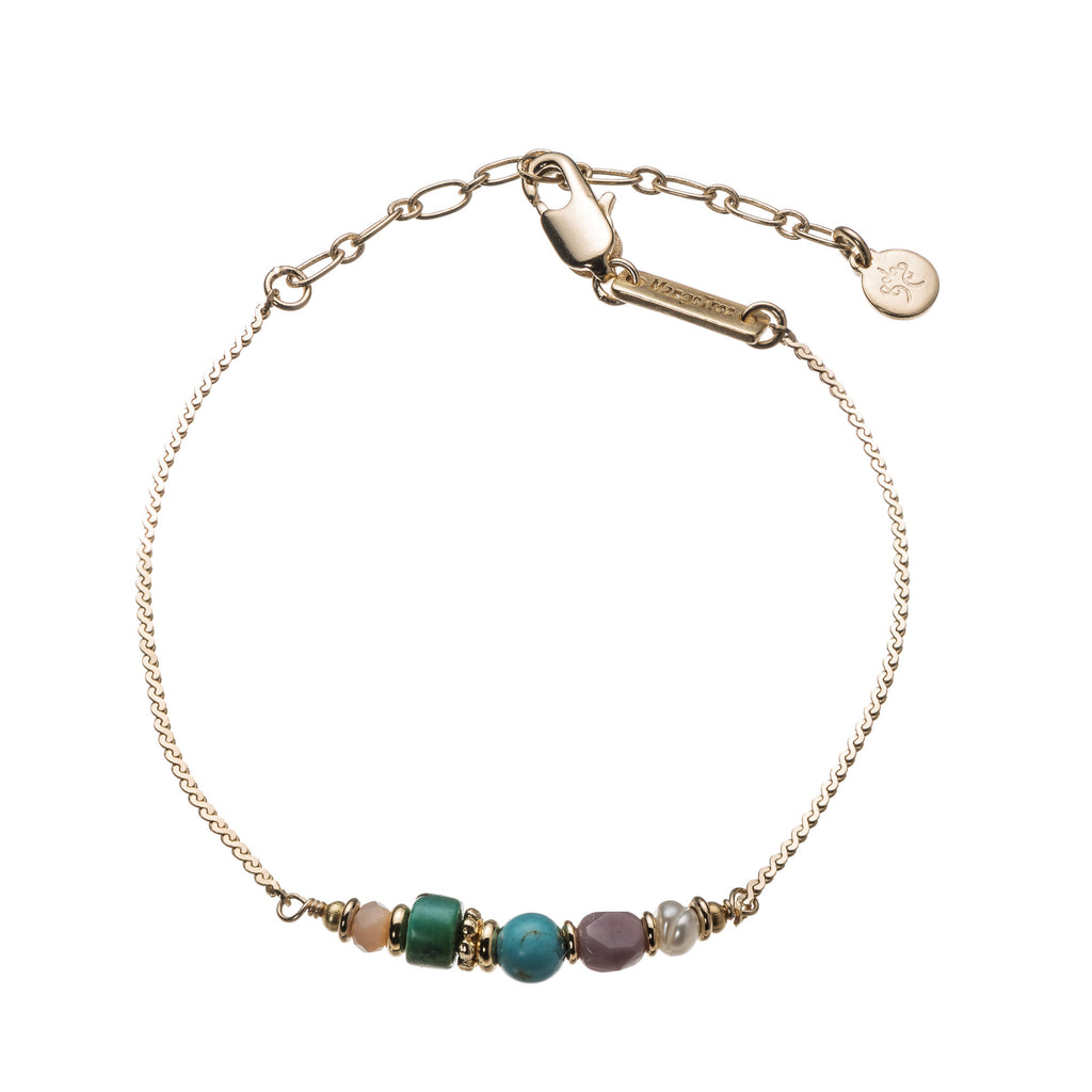 Liya Bracelet With 5 Beautiful Gems 14K GP