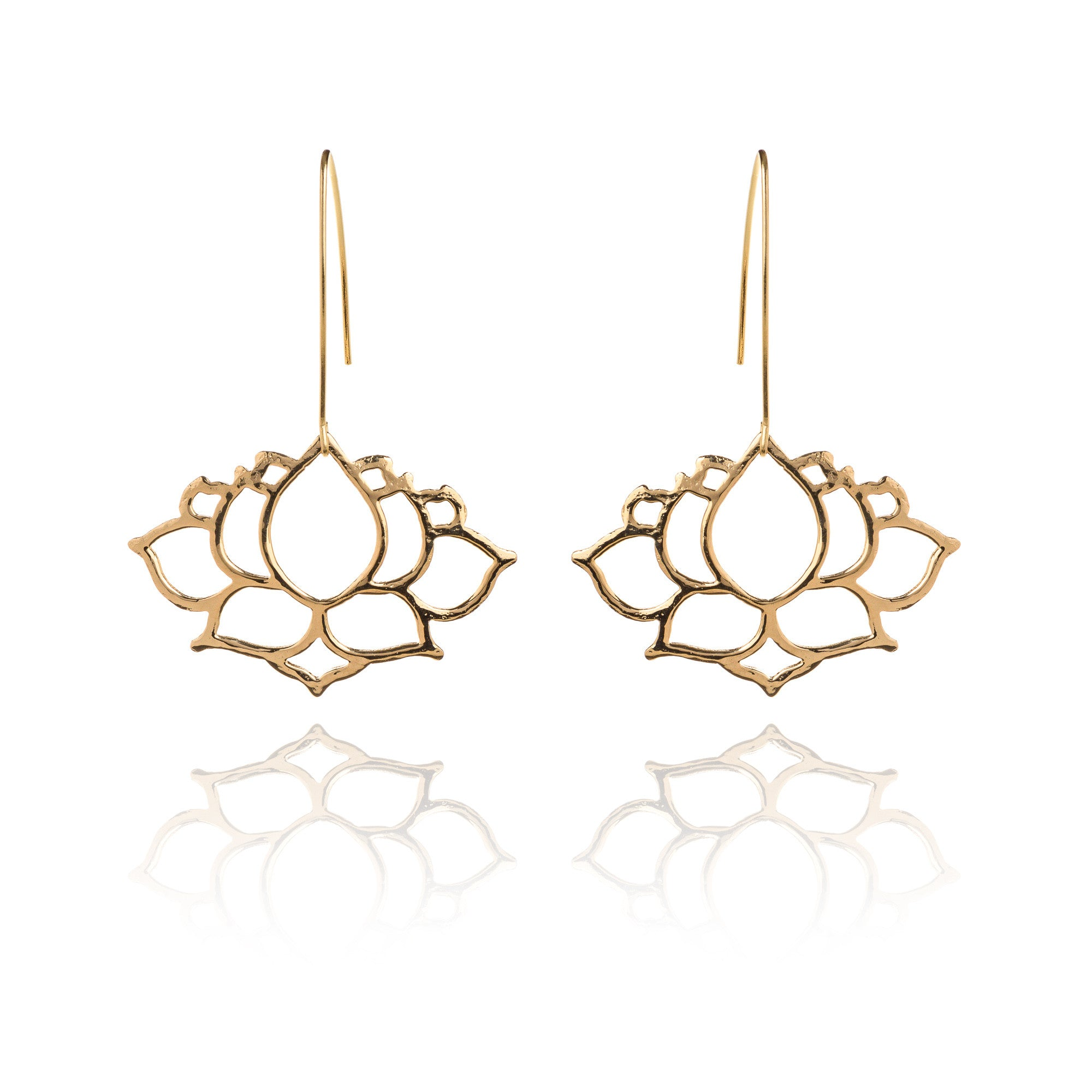 Hammered L Lotus Earrings