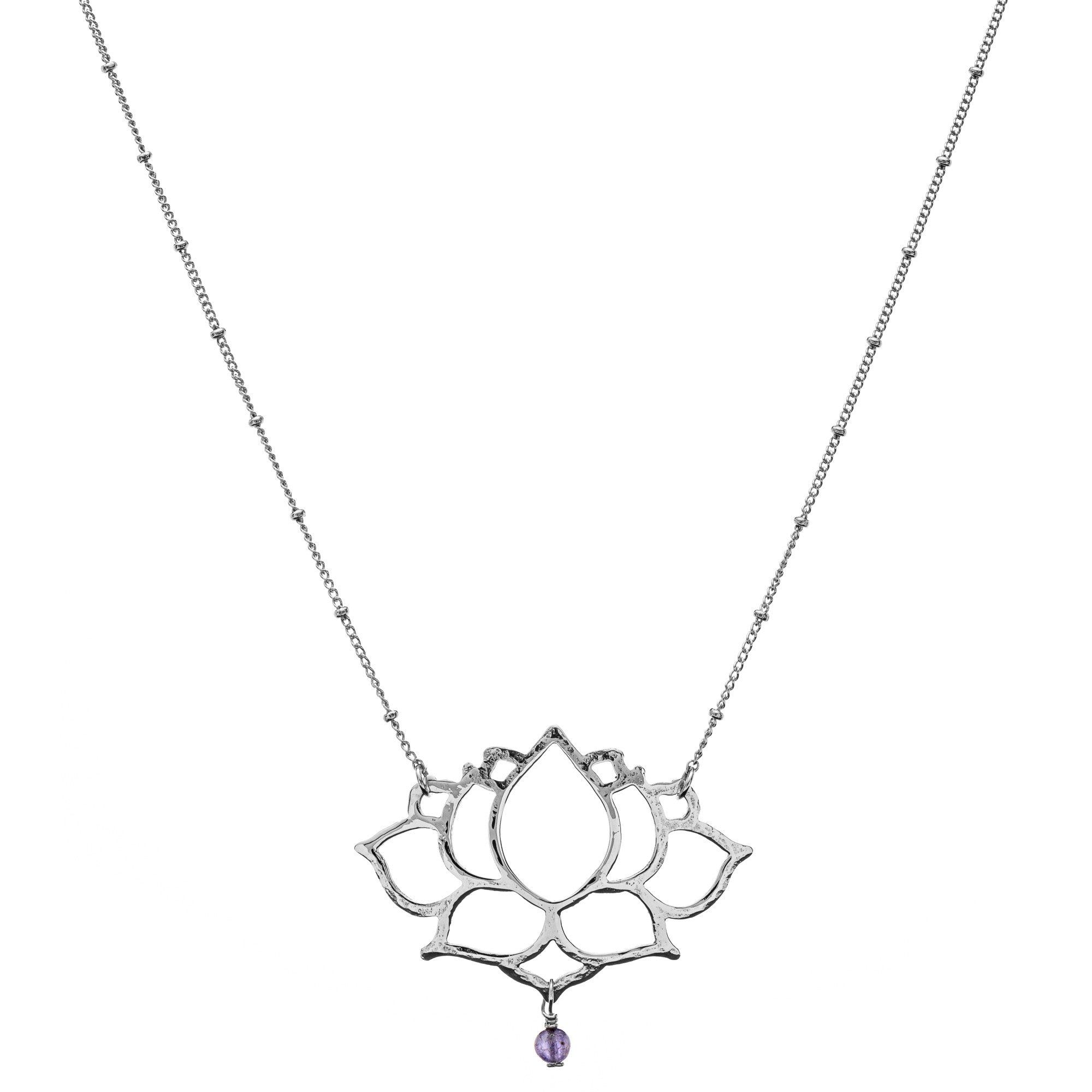 L Lotus Pendant with Sivan Chain Necklace