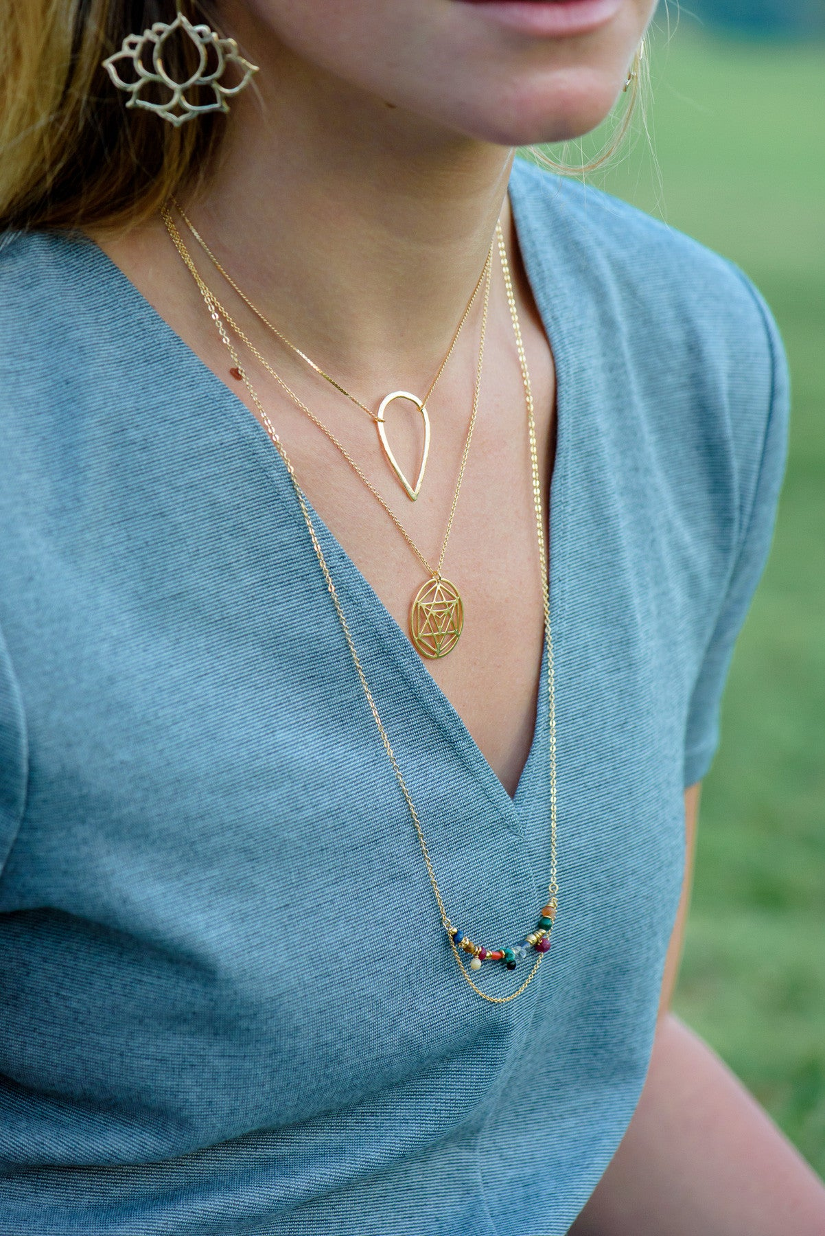 Hammered Drop Pendant & Liya chain Necklace