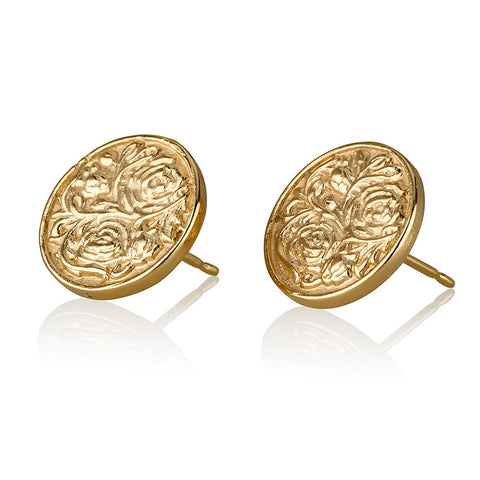 Textured Coin Stud Earrings