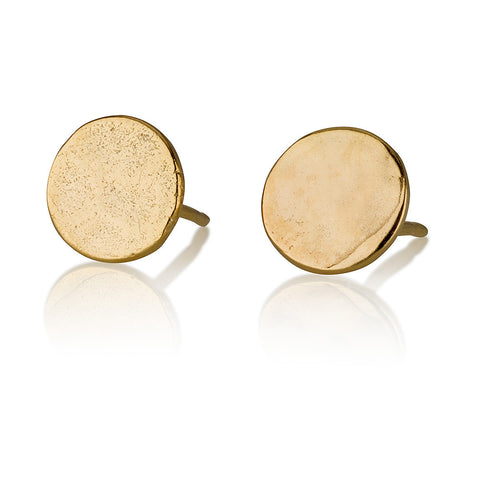 Large Round Hammered Stud Earrings