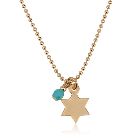 Star Of David With Turquoise Stone Necklace