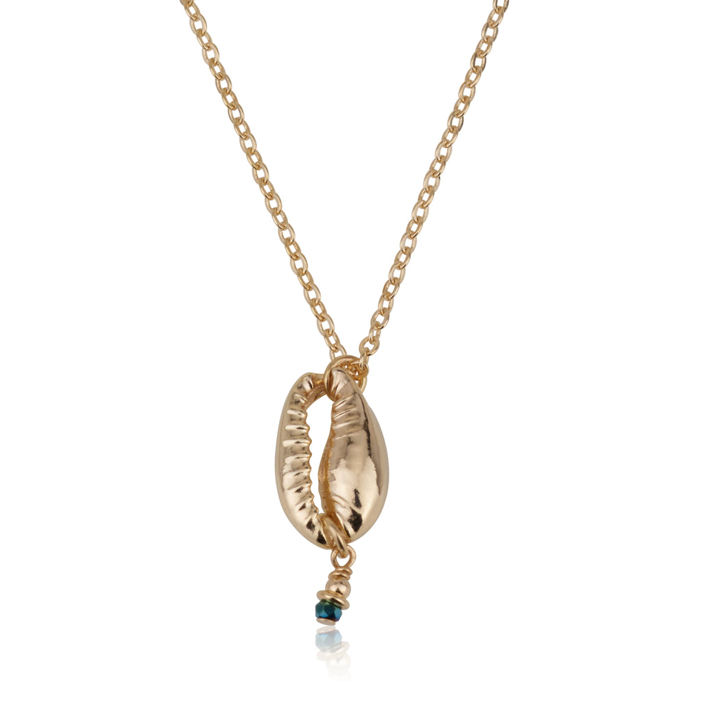 Seashell With Ultra-Blue Stone Necklace