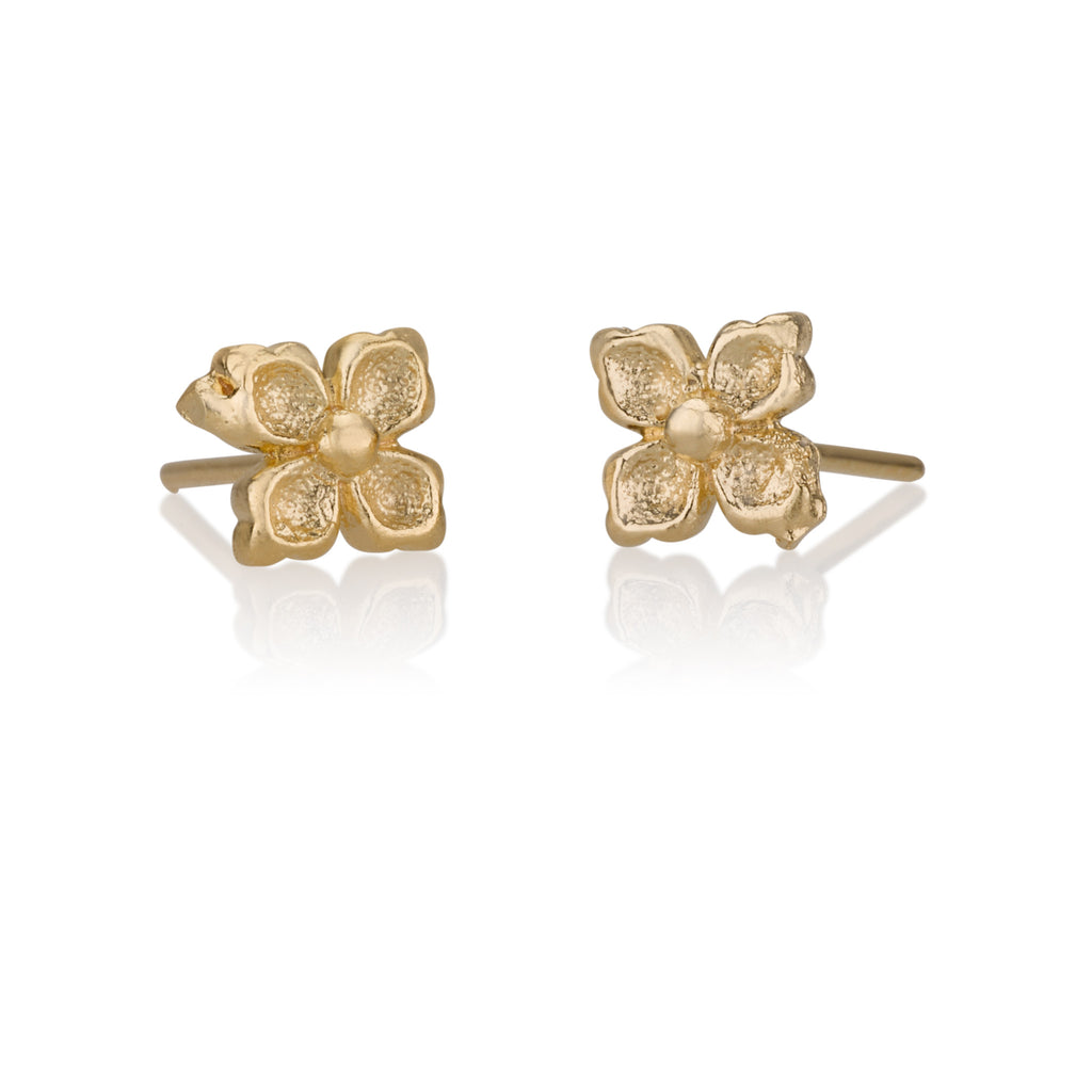 Earrings - Small 4 Leaves Flower Stud Earrings