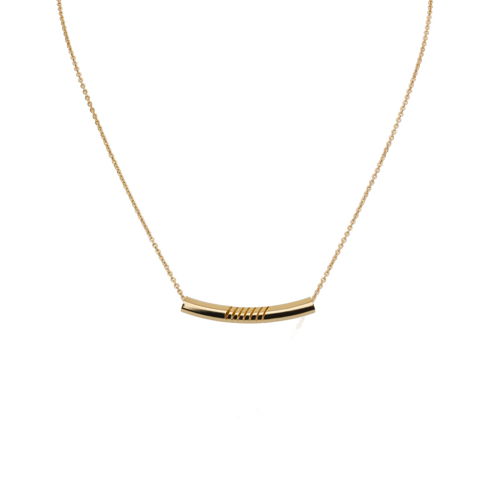 Necklaces - Diagonal Cuts Tube & Helen Chain Necklace