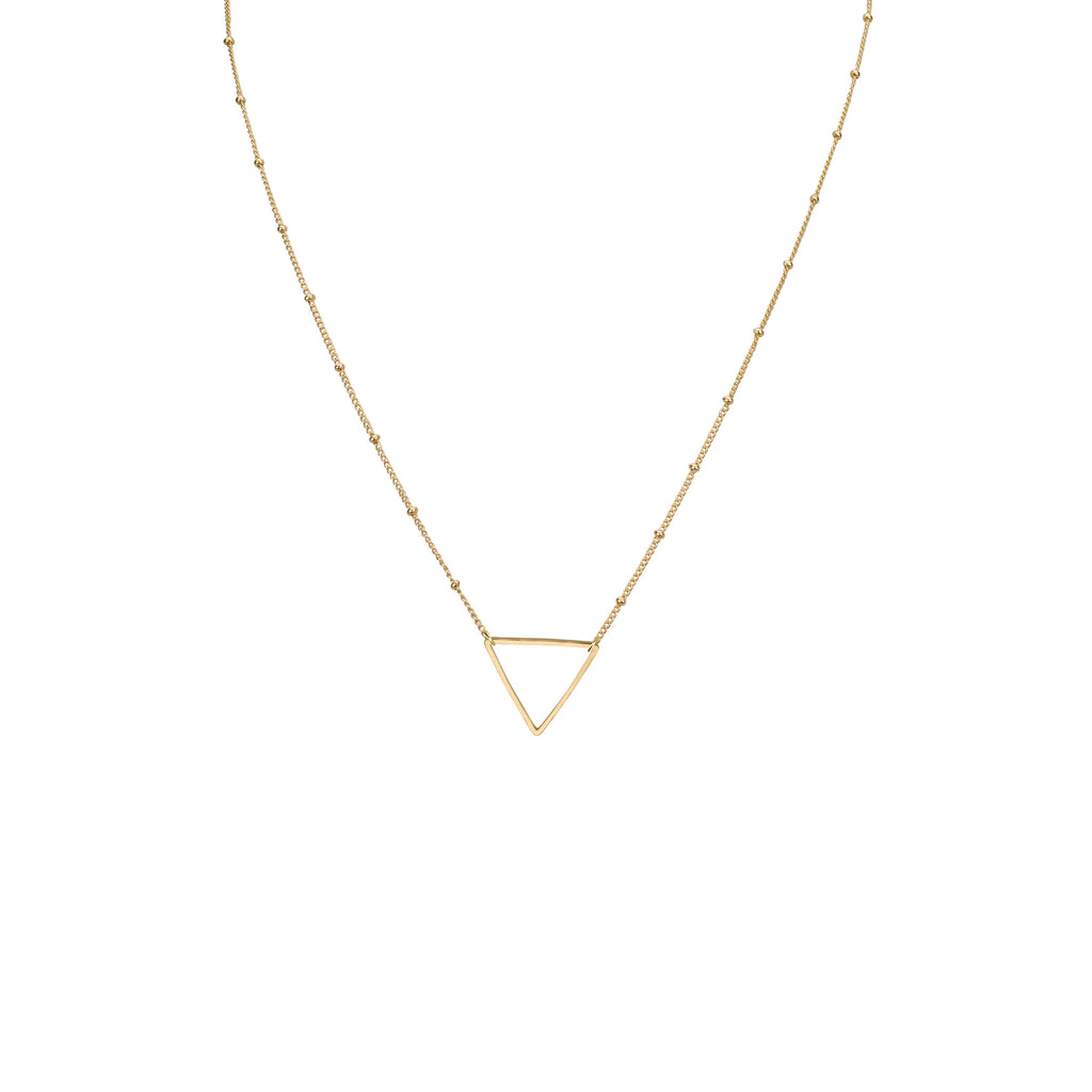 Necklaces - Medium Triangle Outline Pendant & Helen Chain Necklace