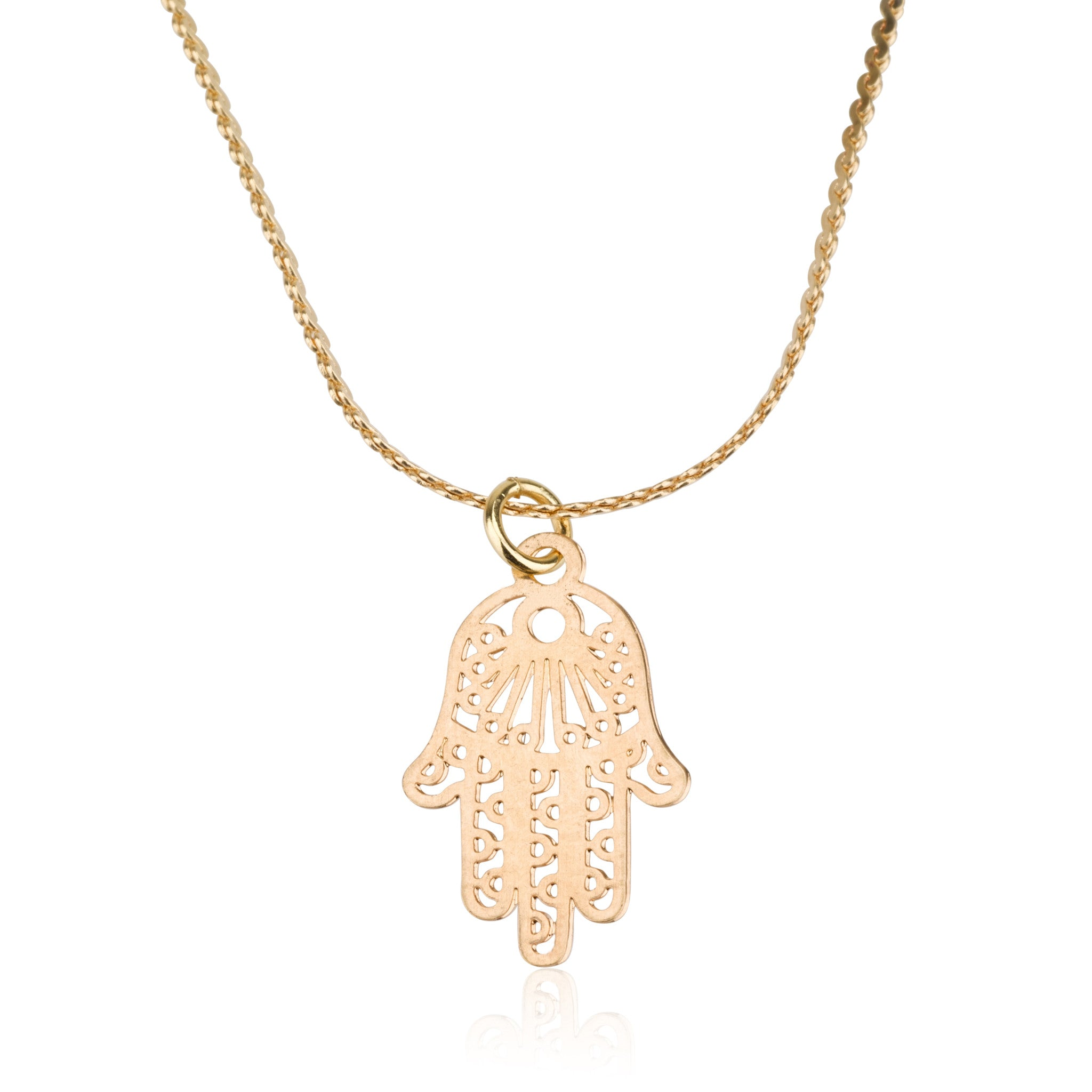 Necklaces - Ornamentic Thin Chamsa Pendant & Liya Chain Necklace