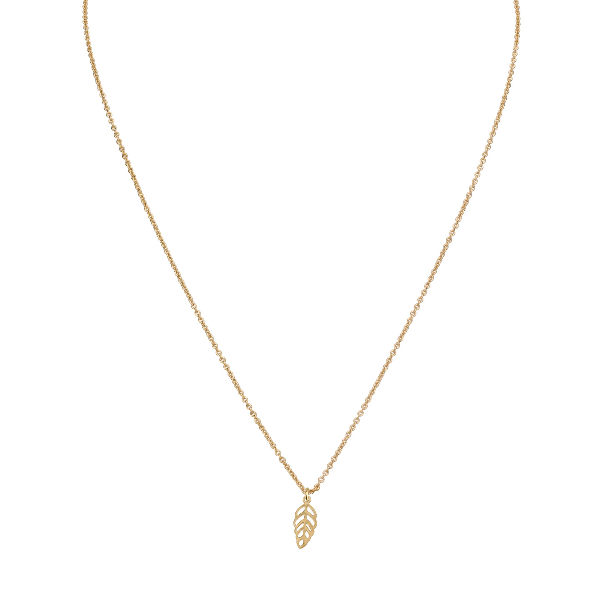 Necklaces - Tiny Delicate Leaf Penant & Helen Chain Necklace