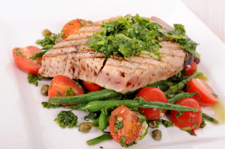 Grilled Tuna Steak with Vegetables