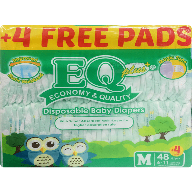 Eq Baby Care EQ Plus Diaper Jumbo Pack Medium 48's