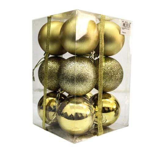 Kcc Novelties Gold Shiny/Matte/Glittered Balls 12's