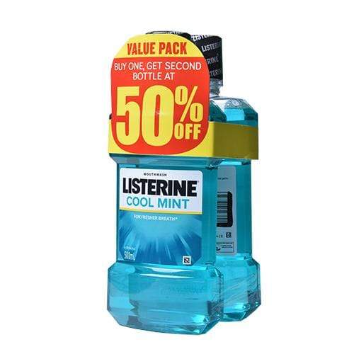 Listerine Oral Care Listerine Mouthwash Coolmint 500ml x 2's 50% OFF on 2nd Bottle