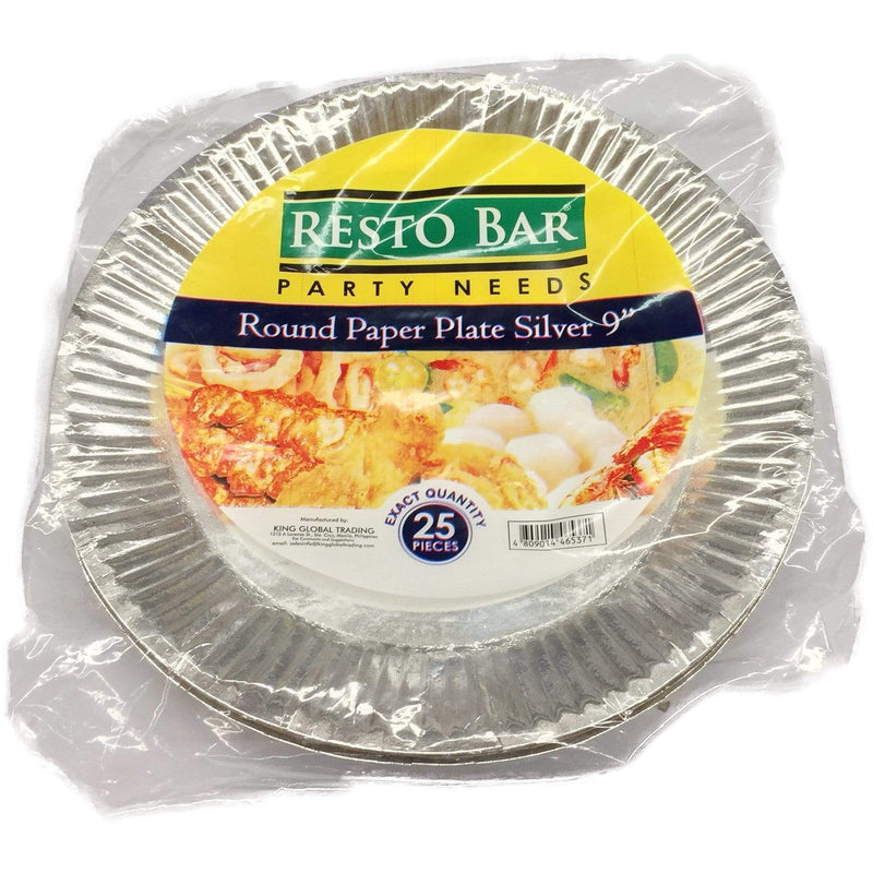 "Resto Bar Party Needs Resto Bar Paper Plates Silver 9"" 25's"