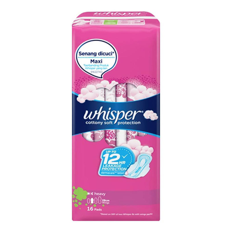 Whisper Feminine Care Whisper Cottony Long Long Heavy Flow w/Wings 16's