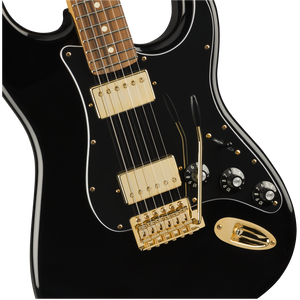 Fender 014-7901-506 Blacktop Strat HH Electric Guitar, Black and Gold