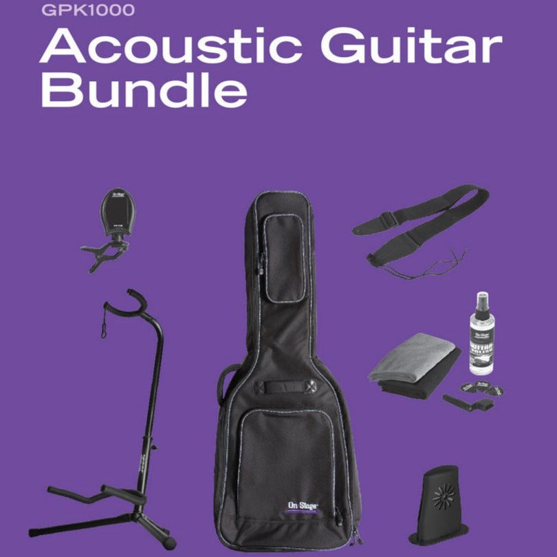 On Stage Stands GPK1000 Acoustic Guitar Accessories Bundle