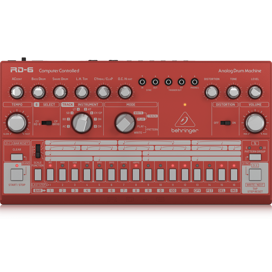 Behringer RD-6-RD Classic Analog Drum Machine, Red