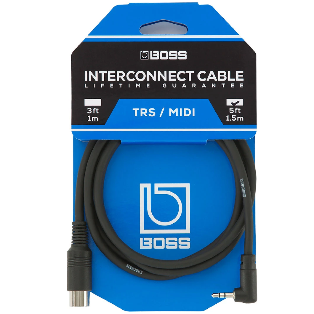 Boss BMIDI-5-35 Angled 3.5 mm TRS to 5-pin male MIDI Cable