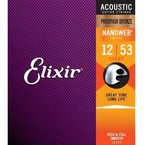 Elixir 16052 NANOWEB Phosphor Bronze Acoustic Guitar Strings Light 12-53