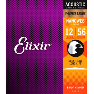 Elixir 16077 NANOWEB Phosphor Bronze Acoustic Guitar Strings Light-Med 12-56