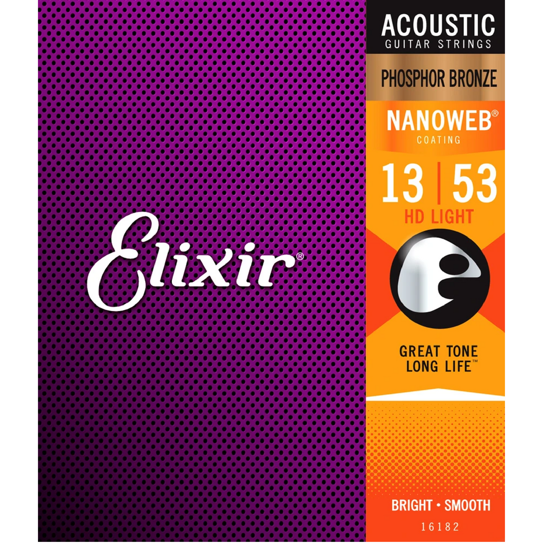 Elixir 16182 NANOWEB Phosphor Bronze Acoustic Guitar Strings Light 13-53