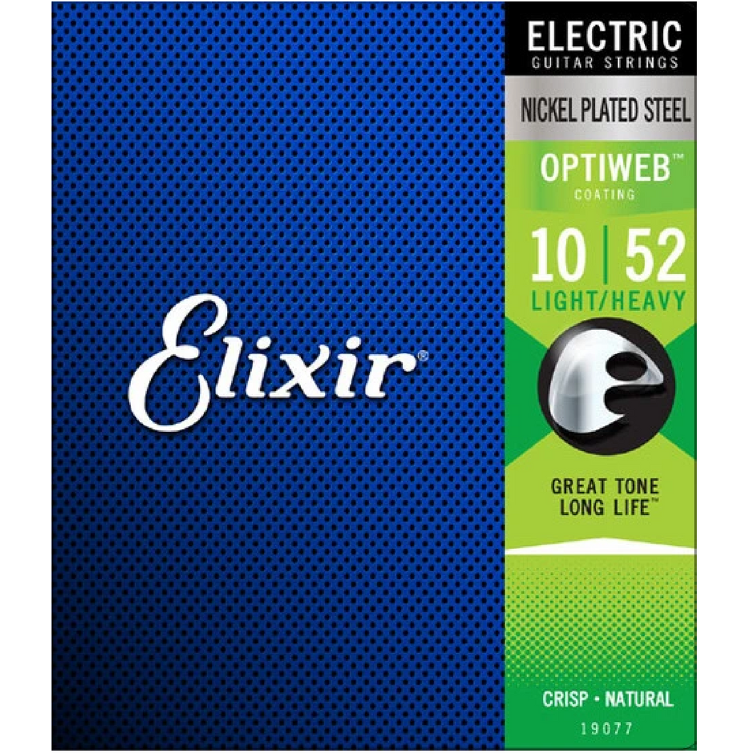 Elixir 19077 Optiweb Electric Guitar Strings Light/Heavy 10-52