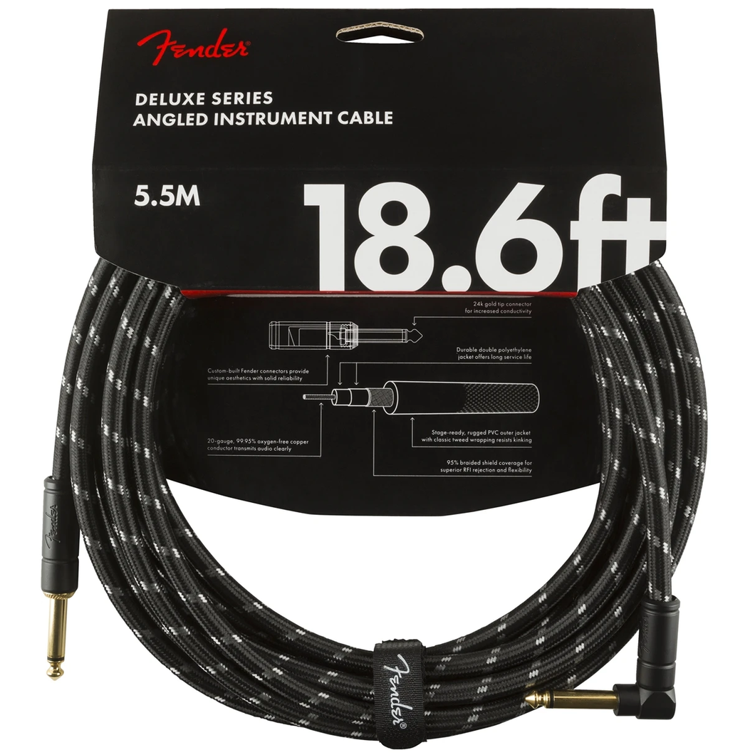 Fender 099-0820-079 Deluxe 18.6' Angled Instrument Cable - Black Tweed