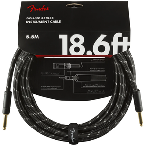 Fender 099-0820-080 Deluxe 18.6' Instrument Cable Black Tweed