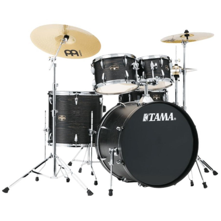 Tama IE52CBNBOW AIMM Exclusive Imperialstar 5pc Complete Kit, 10, 12, 16, 22, 14s, Black Nickel Hdw, Black Oak Wrap