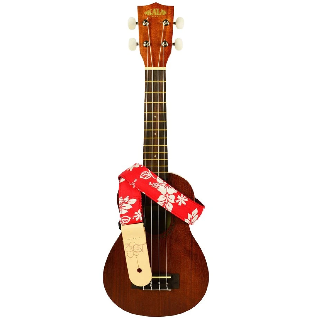 Kala Kala STP-REDHIBISCUS Hand Made Ukulele Strap - Red Hibiscus - Easy Music Center