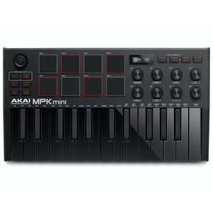 Akai MPKMINI3B Ultra Compact 25-Key Mini Keyboard Controller and Pads, Black