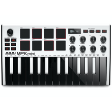 Load image into Gallery viewer, Akai MPKMINI3W Ultra Compact 25-Key Mini Keyboard Controller and Pads, White