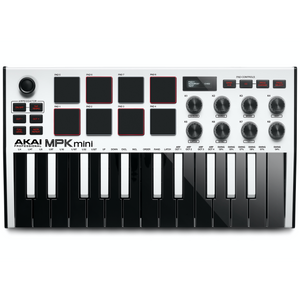 Akai MPKMINI3W Ultra Compact 25-Key Mini Keyboard Controller and Pads, White