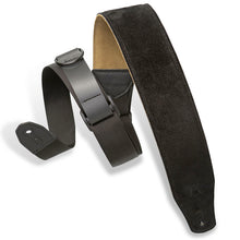 "Load image into Gallery viewer, Levy MRHSP-BLK 2.5"" Suede  Right Height Guitar Strap, Black"
