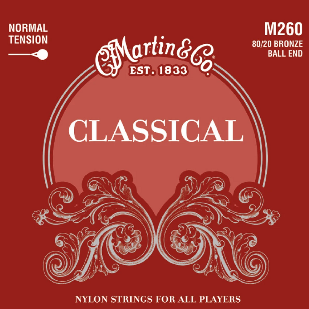 Martin M260 Classical Normal Tension 80/20 Ball End Guitar Strings