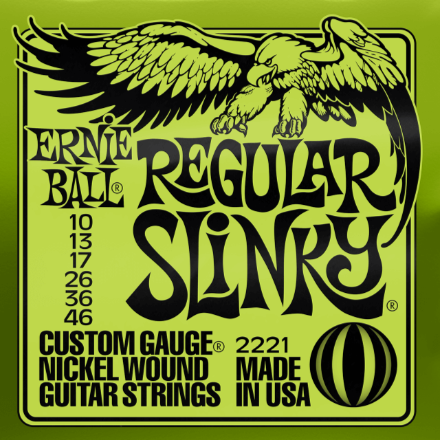 Ernie Ball 2221 Regular Slinky Nickel Wound Electic Guitar Strings 10-46 Gauge