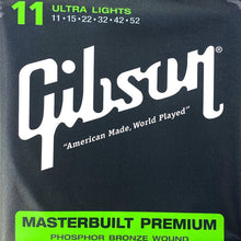 Load image into Gallery viewer, Gibson SAG-MB11 Masterbuilt Premium Phospher Bronze Acoustic Guitar Strings, Ultra Lights