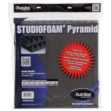 "Load image into Gallery viewer, Auralex PYRAMIDCHA-PR Studiofoam Pyramid Panels in Retail Bag,1 Pair, 2"" x 24"" x 24"", Charcoal"