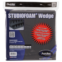 "Load image into Gallery viewer, Auralex WEDGECHA-PR Studiofoam Wedge Panels in Retail Bag, Pair, 2"" x 24"" x 24"", Charcoal"