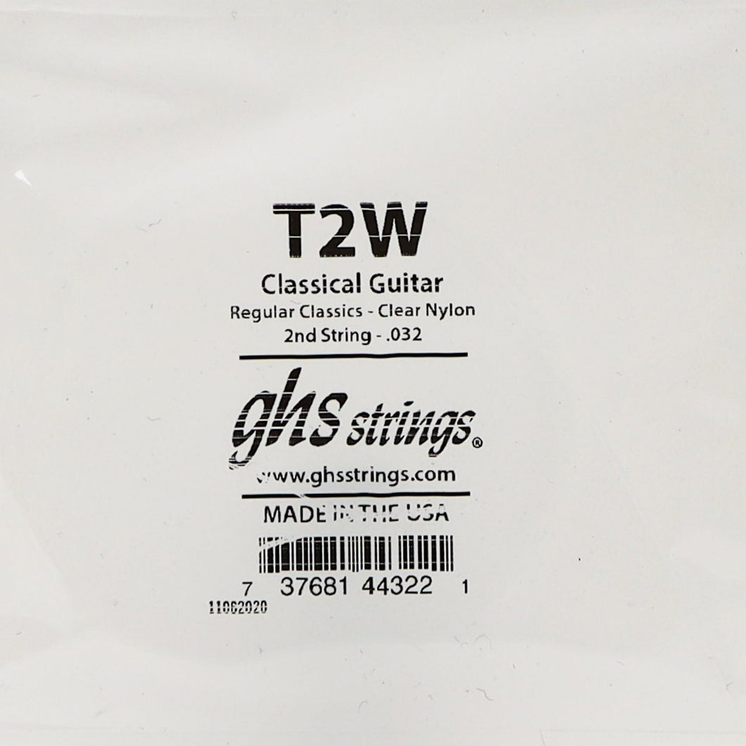 GHS T2W 2nd Single Clear Nylon Classical String .032