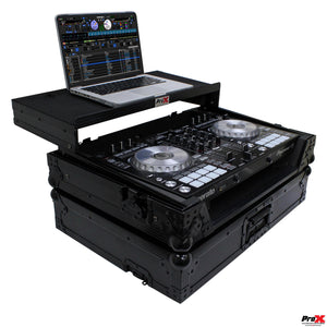 ProX XSDDJSR2LTBLLED DJ Case for DDJ-SR2, BLACK on BLACK-W/ Laptop Shelf & LED Kit
