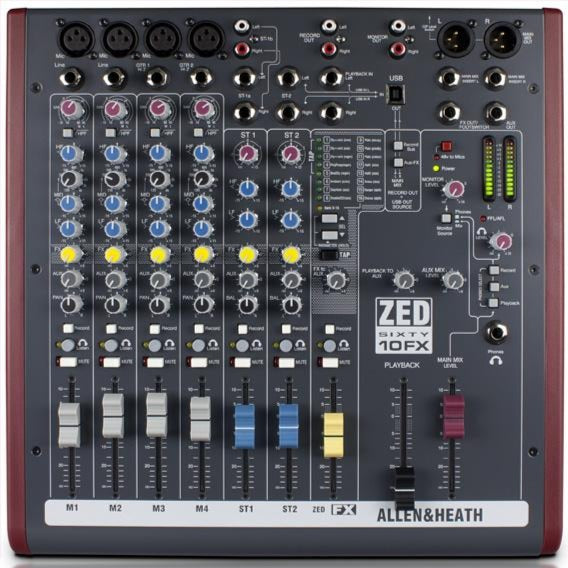 Allen & Heath ZED60-10FX 10 Channel Analog Mixer with FX, 60mm Faders