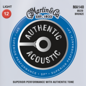 Martin MA140 SP Authentic 80/20 Light Guitar Strings, 12-54